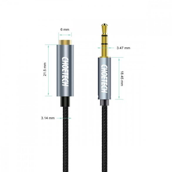 Choetech Audio Cable Extension, 2 m, stereo 3.5 mm, jack male to female, audio cable