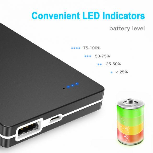 Choetech 10000mAh Ultra-thin Portable Charger Power Bank Black