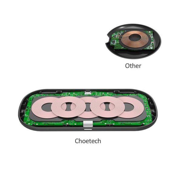 Choetech T535-S 5 cellás 360° QI vezeték nélküli töltő - Fa minta