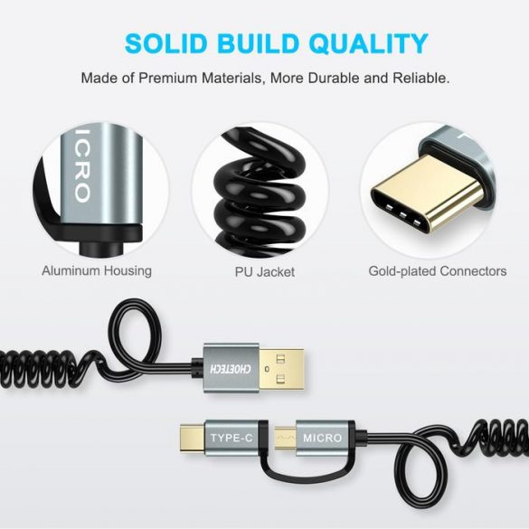 Choetech XAC-0012-101 2-in-1 USB Type C+Micro USB Cable Spring